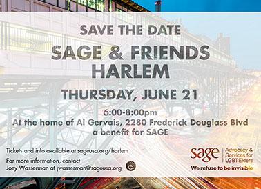 Invite for SAGE & Friends Harlem event 2018