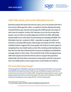LGBT Older Adults, HIV and the Affordable Care Act