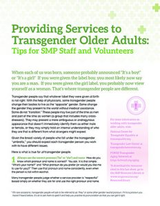 Providing Services to Transgender Older Adults: Tips for SMP Staff and Volunteers
