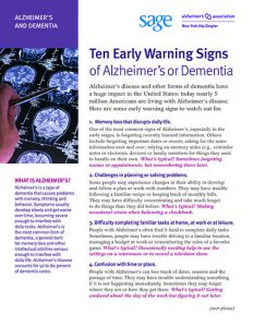 Ten Early Warning Signs of Alzheimer's or Dementia