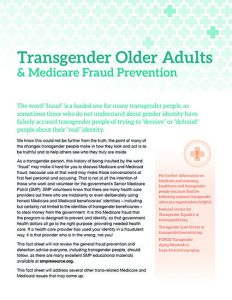 Transgender Older Adults & Medicare Fraud Prevention