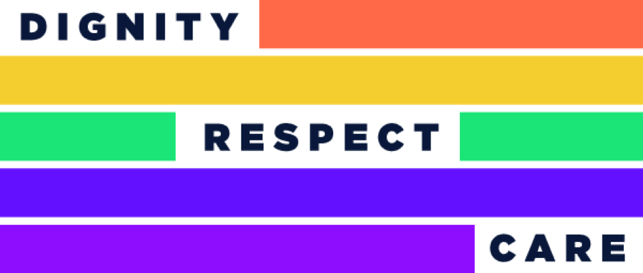 Dignity, respect, care flag