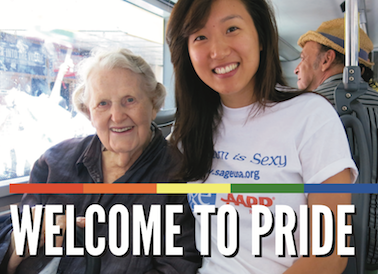 An older white woman and younger Asian woman on a SAGE Pride bus.