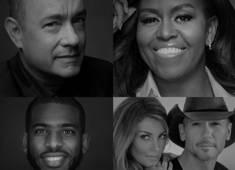Black and white pictures of celebrities on National Register to Vote Day