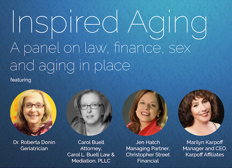 Flyer with four photos for SAGE's inspired aging panel