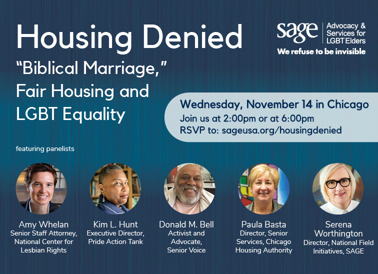 Flyer for SAGE Housing Denied panel event