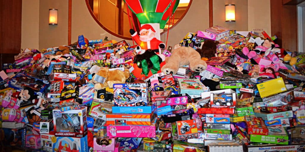 A pile of donated toys from SAGE's Toys Party 2017.