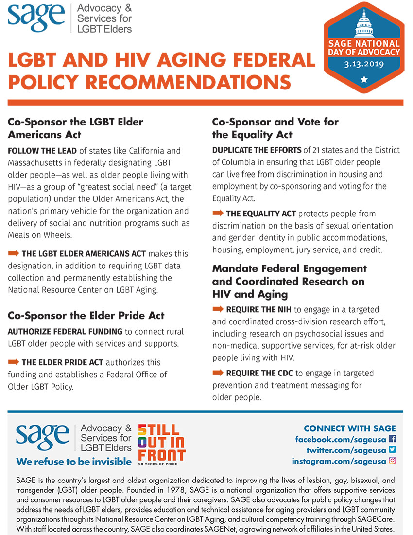 LGBT and HIV Aging Federal Policy Recommendations