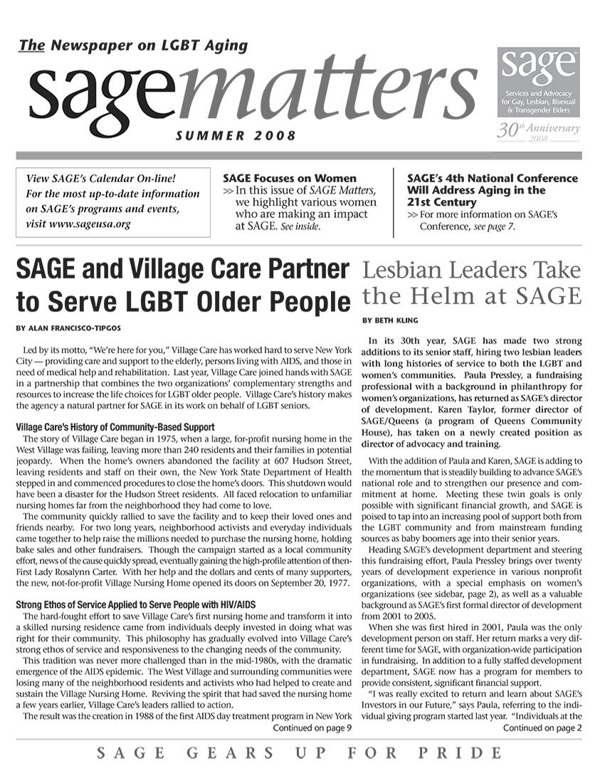 SAGEMatters: Summer 2008
