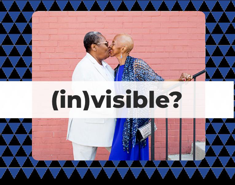 An LGBT elder couple kissing