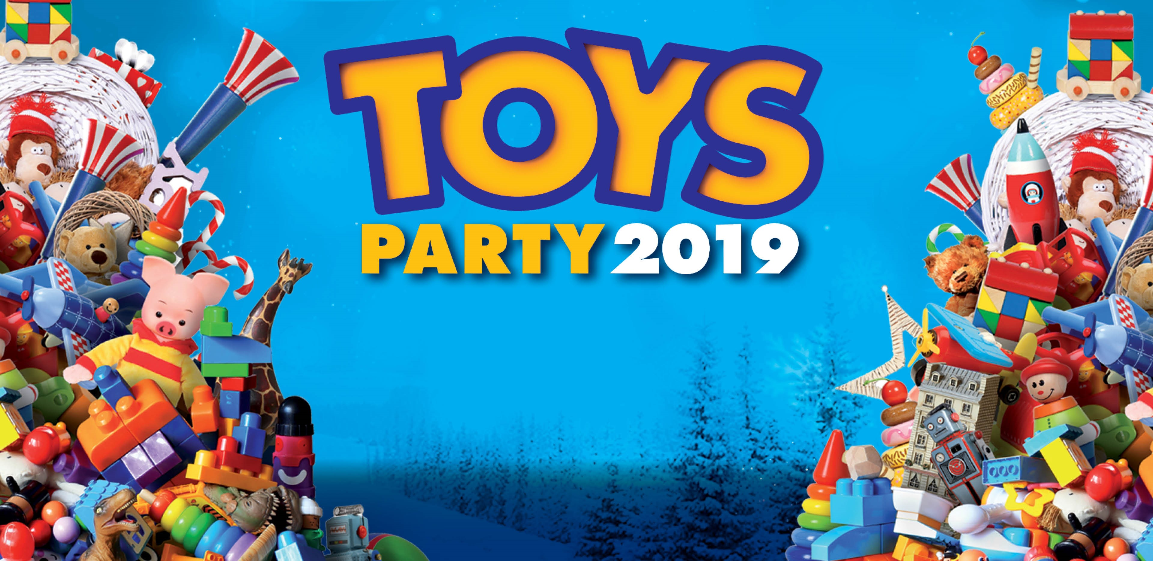 Piles of toys and Toys Party 2019 announcement