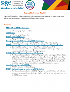 HIV and Aging Policy Action Coalition (HAPAC) Federal Advocacy Toolkit