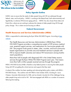 HIV and Aging Policy Action Coalition (HAPAC) Policy Agenda