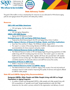HIV and Aging Policy Action Coalition (HAPAC) State Advocacy Toolkit