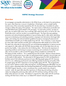 HIV and Aging Policy Action Coalition (HAPAC) Strategy Document